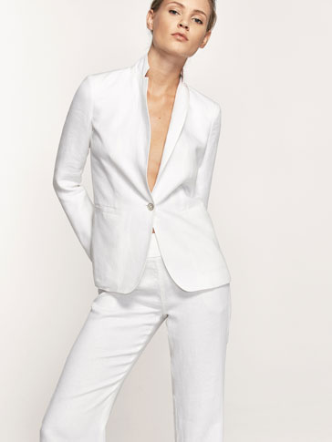 WHITE SLIM FIT LINEN BLAZER