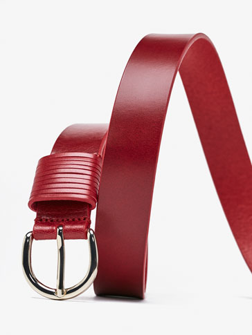 LEATHER BELT WITH STRAP DETAIL