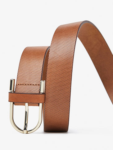 CUTWORK LEATHER BELT WITH HORSESHOE-STYLE BUCKLE