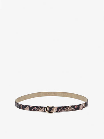 LEATHER BELT WITH SNAKESKIN-EFFECT FINISH