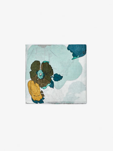 TURQUOISE FLORAL PRINT FOULARD SCARF