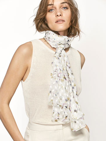 SILK FOULARD SCARF WITH PRINT AND PLUMETIS