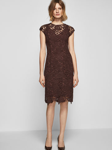 BURGUNDY GUIPURE LACE DRESS