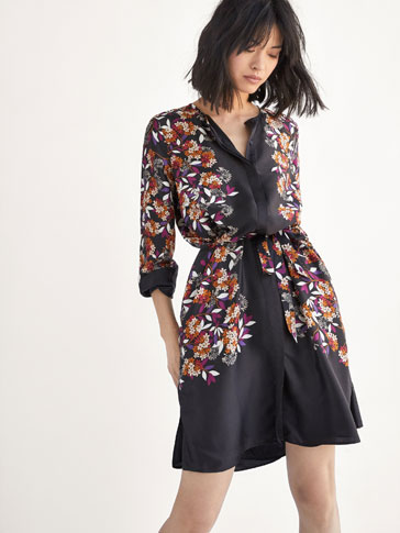 POSITIONAL FLORAL PRINTED DRESS WITH TIE DETAIL