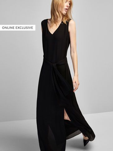 LONG DRESS WITH TIE-UP DETAIL