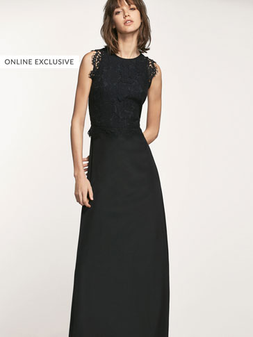 LONG DRESS WITH GUIPURE LACE DETAIL