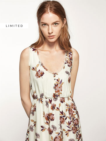 FLORAL PRINT SILK DRESS WITH FRILL DETAIL