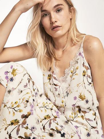 فستان طراز الثياب الداخلية مطبع زهور