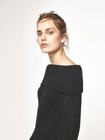 فستان محاك بتفصيل تقويرة رقبة بوت
