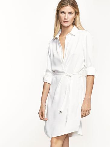 فستان قميص بتفصيل حزام