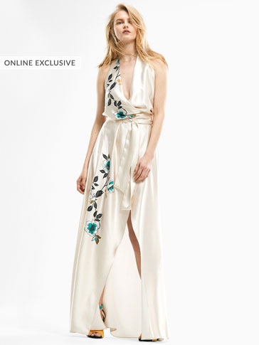 LIMITED EDITION FLORAL PRINT SILK DRESS WITH EMBROIDERY DETAIL