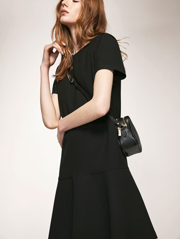 BLACK DRESS WITH FRILLED DETAIL
