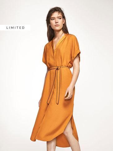 MUSTARD-COLOURED SHIRT DRESS