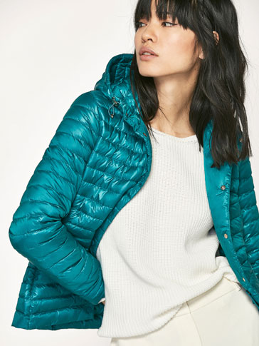 TURQUOISE DOWN PUFFER JACKET WITH BAG DETAIL