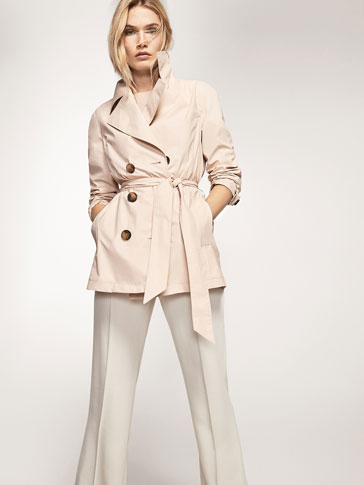 PLAIN POPLIN TRENCH COAT