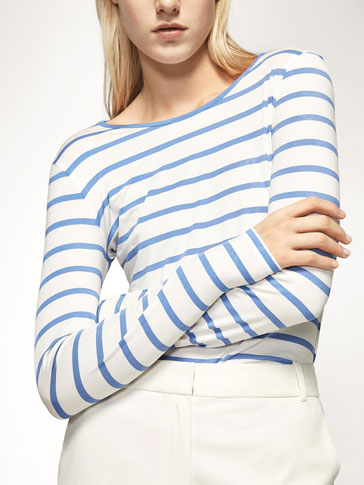 STRIPED T-SHIRT WITH BACK VENT