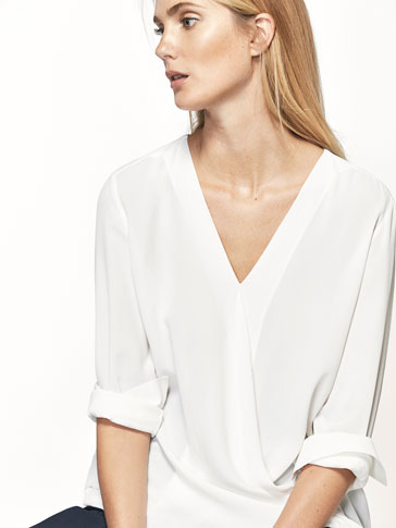 CROSSED V-NECK SHIRT WITH TIE DETAIL
