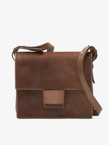 LARGE COLTSKIN FINISH LEATHER CROSSBODY BAG