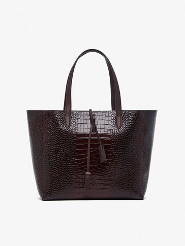 SAC SHOPPER CUIR FINITION CROCO