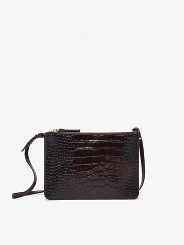 DOUBLE LEATHER CROSSBODY BAG WITH MOCK CROC FINISH