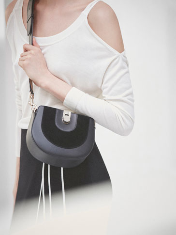 CONTRAST TWO-TONE LEATHER CROSSBODY BAG