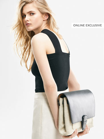 LIMITED EDITION LARGE LEATHER/LINEN CROSSBODY BAG