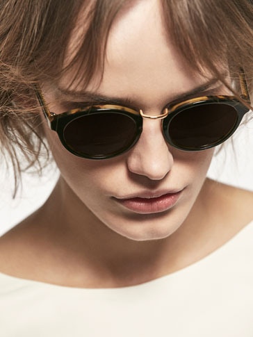 BLACK/TORTOISHELL SUNGLASSES WITH METAL DETAIL