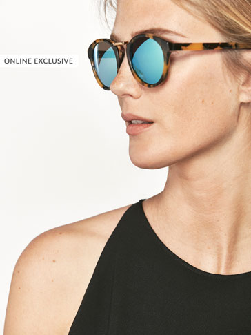 TORTOISESHELL SUNGLASSES WITH MIRROR-EFFECT AND METAL DETAIL