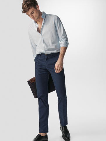 SLIM FIT FALSE-PLAIN PRINT CHINOS