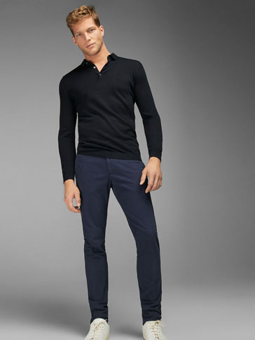 SLIM FIT PRINTED CHINOS WITH APPLIQUÉ DETAIL