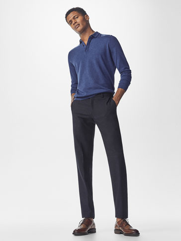 LIGHTWEIGHT WOOL/COTTON TEXTURED WEAVE TROUSERS