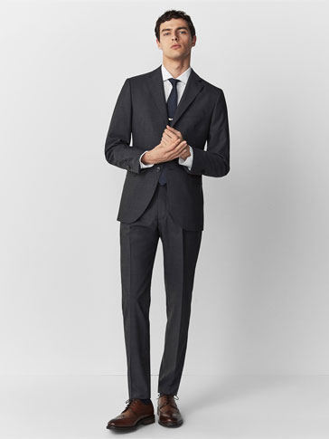SLIM FIT GREY FIL À FIL WOOL TROUSERS