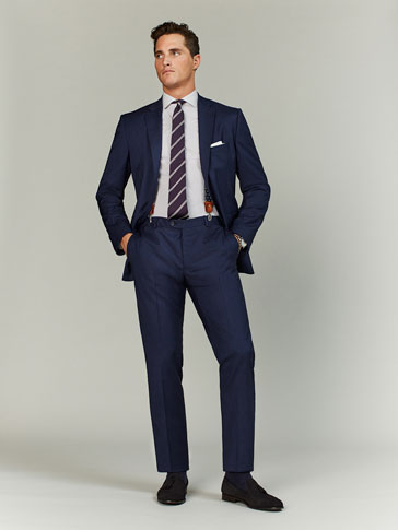 SLIM FIT DEEP BLUE STRIPED WOOL/SILK TROUSERS