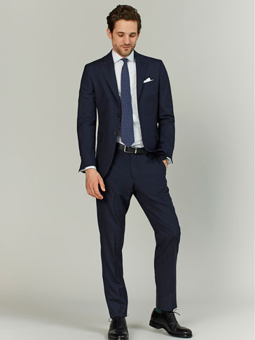 SLIM FIT BLUE CHECKED WOOL TROUSERS