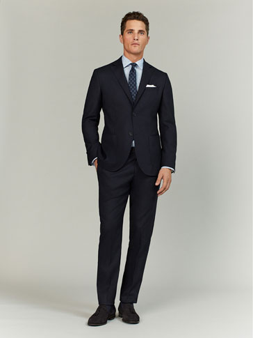 SLIM FIT NAVY BLUE TEXTURED WOOL TRAVEL TROUSERS