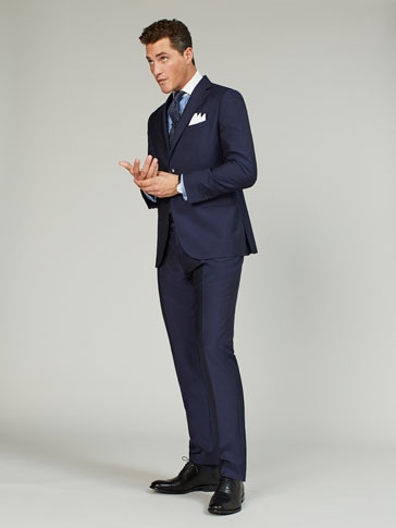 SLIM FIT BLUE FLAT WOOL/MOHAIR/SILK TROUSERS