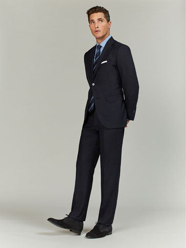 NAVY BLUE REGULAR FIT FLAT WOOL TROUSERS