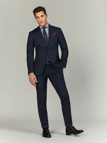 LIMITED EDITION NAVY BLUE TEXTURED WEAVE WOOL SUIT TROUSERS