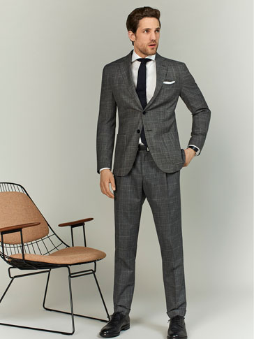 LIMITED EDITION CHECKED WOOL/LINEN/SILK SLIM FIT TROUSERS