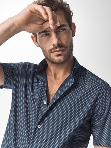 슬림 핏 모티브 패턴 마린블루 셔츠