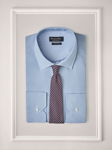 PERSONAL TAILORING SHIRT WITH FINE LIGHT BLUE STRIPES