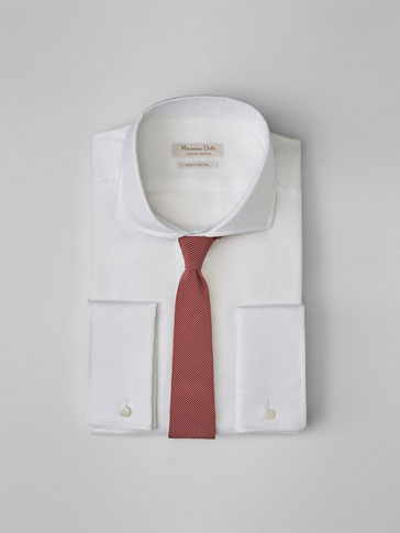 PERSONAL TAILORING WHITE TEXTURED WEAVE SHIRT