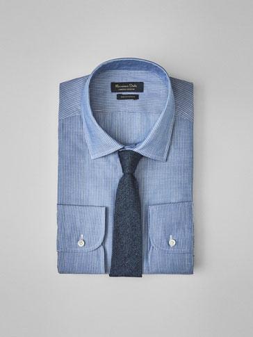 PERSONAL TAILORING BLUE STRIPED COTTON/LINEN SHIRT