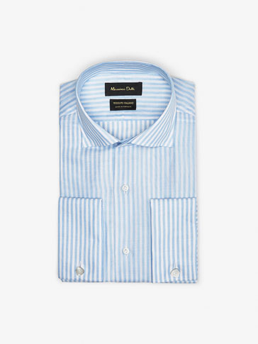 SLIM FIT STRIPED SHIRT WITH DOUBLE CUFFS