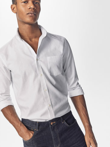 WHITE SLIM-FIT JACQUARD SHIRT WITH ELBOW PATCHES