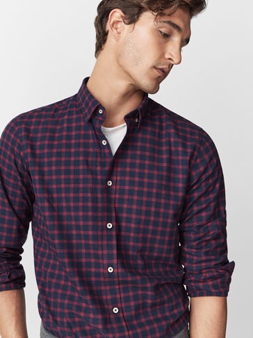 SLIM FIT RED CHECK SHIRT