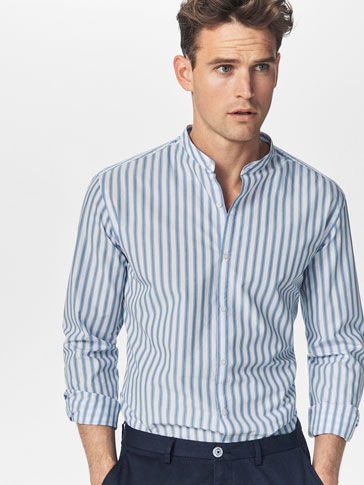 WHITE SLIM FIT SHIRT WITH SKY BLUE STRIPES