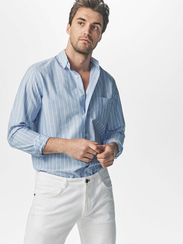SKY BLUE CASUAL FIT SHIRT WITH WHITE STRIPES