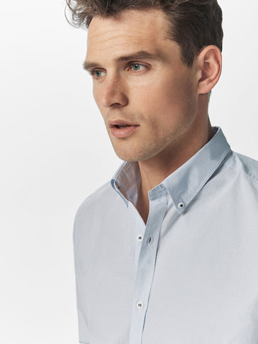 SLIM FIT MICRO-CHECK SHIRT WITH ELBOW PATCH DETAIL