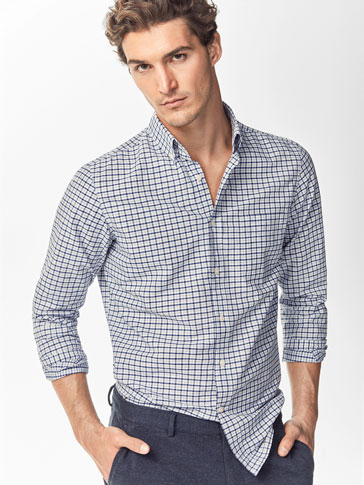 SHIRT WITH BLUE CHECK DETAIL